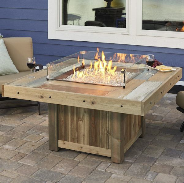 Vintage Fire Pit With Wind Guard