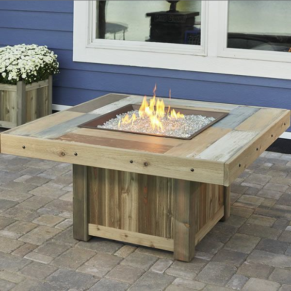 Vintage Square Gas Fire Pit Table